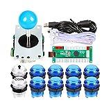 EG STARTS 1 Giocatore Arcade USB Encoder per PC Giochi Blue Stick Controller + 10x LED Illuminato Pulsanti per Arcade Joystick Kit Fai da Te Parti Mame Raspberry Pi