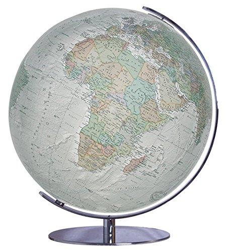 Columbus DUO ALBA Leuchtglobus: Tischmodell, TING-fähig, handkaschiertes Kartenbild auf Acrylgalskugel, Kugeldurchmesser 34 cm, Fuß und Meridian aus hochglänzendem Chrom