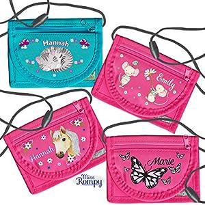 MissRompy | Brustbeutel mit Name (verschiedene Modelle) und Sicherheitsverschluss Umhängebeutel breast bag Portemonnaie
