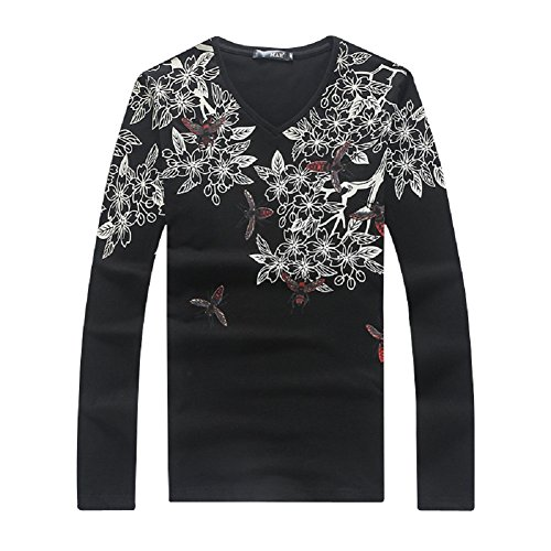 BOMOVO Herren Langarmshirt Blumen Vogel Print T-shirt - Slim Fit Schwarz