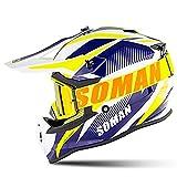 LALEO Coole Persönlichkeit Motocross Helm Motorradhelme mit Brille, Unisex Herren Damen Adult Vier...