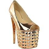 Sandales à talons très hauts - pole dance/strip-tease/sexy - plexiglas - femme - Rose doré métallisé/chromé/cuivre - EUR 36