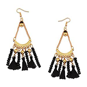 Young & Forever navratri jewellery & diwali gifts for family and friends Boho Gypsy Morrocon Style Gold Plated Tassel Earrings for women & Girls E236 (Black)
