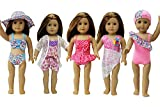 ZITA ELEMENT 5 Set Sommer Bikini Kleidung Schwimmen für 43cm 45-46 cm Puppe 17/18 Zoll American Girl Doll Strand Schwimmbad Puppenkleidung