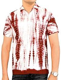 La Leela manches courtes pur colorants coton cravate main avant poche'S 3 dans le thème chemise partie ajustement 1 régulière, plus la taille bouton vers le robe chemise rouge hommes