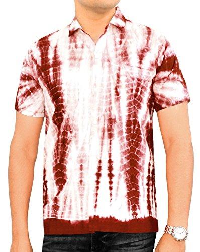 LA LEELA Strand Hawaiihemd Herren XS - 5XL Kurzarm Front-Tasche Hawaii-Print Casual Button Down Hemd Kastanienbraun Rot