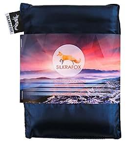 Silkrafox, sacco a pelo ultraleggero in seta artificiale, sacco lenzuolo, azzurro