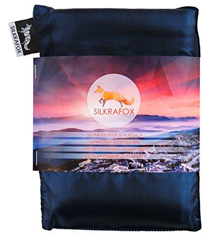 Silkrafox Saco de dormir ultraligero para las excursiones de senderismo, los viajes, las acampadas, seda artificial, azul