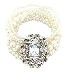 Étui à bijoux Motif vintage Ivoire perle et cristal Bracelet