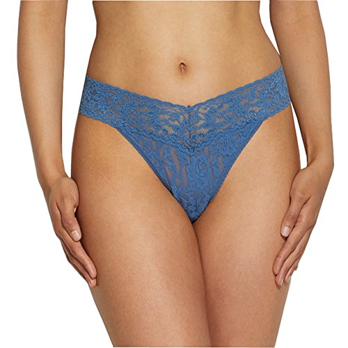 Hanky Panky Signature Lace Original Rise Thong, One Size, Storm Cloud Blue Cloud-thong