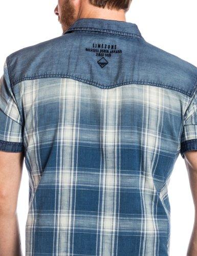 Timezone - Chemise casual Homme - 27-5004 Denim shortsleeve shirt Bleu (big indigo check)