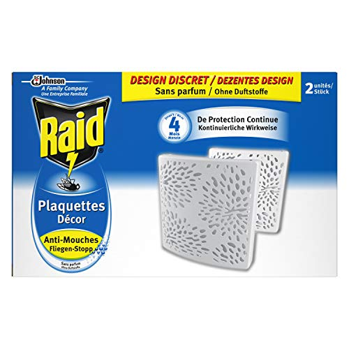 Raid Plaquettes Décor Anti-Mouches, 4 Mois de Protection, Sans Parfum, Blanc, Lot de 2