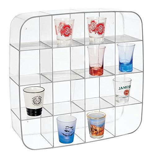 mDesign Setzkasten - Sammlervitrine aus Kunststoff mit 16 Fächern - quadratisches Wandregal für Spielzeugautos, Figuren, Nagellack, Parfum etc. - durchsichtig