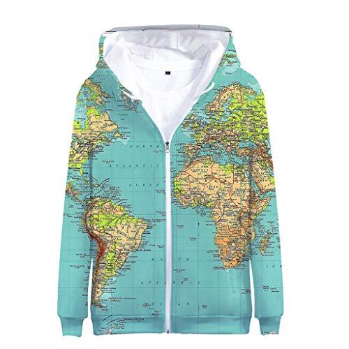 Theme 3D Weltkarte Gedruckte Strickjacke Full Zip Hoodie - Uniform Pullover Jacke - Geeignet Für Männer Und Frauen (Automobil-uniform-hose)