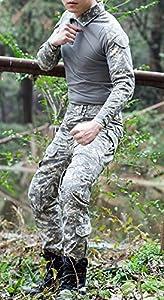 Lanbaosi Chemise de Combat Militaire Homme Airsoft Shirt Tenue Camouflage Uniforme Tactique Séchage rapide à manches imperméables