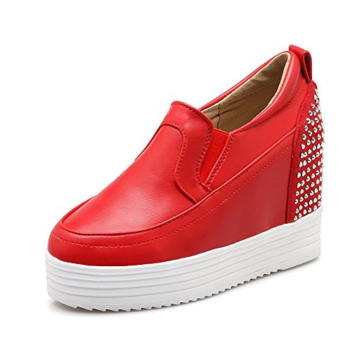 AllhqFashion Damen Ziehen Auf Hoher Absatz Pu Leder Eingelegt Rund Zehe Pumps Schuhe Rot