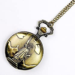 EASY4BUY Statue of Liberty Pocket Watch Pendant Necklace