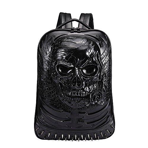 antaina Schwarze 3D Skull Rose geprägte Rucksack Rivet personalisierte Punk PU Laptop Schultasche Bookbag