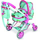 Decuevas Toys - Muñeca Zoe, coche 3 en 1 con bolso, 47x68x75 cm