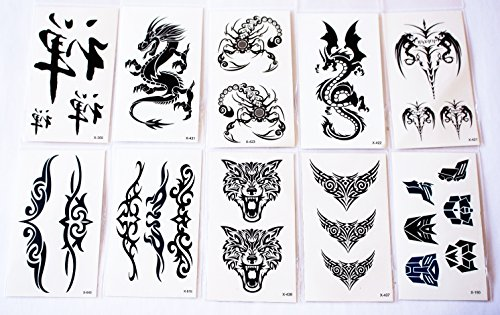 wolga-kreativ-tattoo-set-10-bogen-wie-hauptbild-drache-chinesisches-zeichen-symbol-wolf-hund-schrift