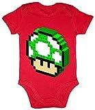 HARIZ Baby Body Kurzarm 1 Up Pilz Retro Gamer Gaming Pixel Zocken PC Geburtstag Inkl. Geschenk Karte Feuerwehr Rot 3-6 Monate