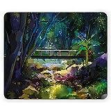 Tappetino per mouse colorato, pittura a olio stile paesaggio illustrazione del ponte di legno sul torrente nella foresta, 25 x 30 cm tappetino antiscivolo in gomma
