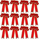 WILLBOND 12 Stücke 9,8 x 7,5 Zoll Weihnachtsbaum Bögen Weihnachtskranz Bögen Gold Kabelgebundene Kante Bänder für Weihnachtsbaum Zuhause Dekoration