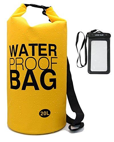 langxun Wasserdicht Dry Bag, 500D PVC-Gewebe, 10l, 20l für Tauchen, Kayaking, Schwimmen,, Angeln, Camping, Kanu, Rafting, Snowboarden | Wasserdicht Rolloverschluss und abnehmbarer verstellbarer Schultergurt, gelb (- Pvc-bügel)