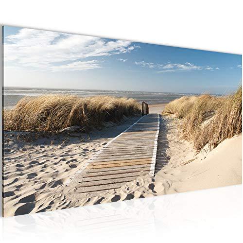 Bilder Strand Meer Wandbild 100 x 40 cm Vlies - Leinwand Bild XXL Format Wandbilder Wohnzimmer Wohnung Deko Kunstdrucke Blau 1 Teilig - Made IN Germany - Fertig zum Aufhängen 604012a
