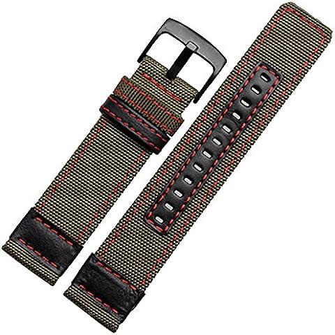 24mm Cinturino Nylon Tessuto Tela Militare Verde Rosso cuciture nero fibbia