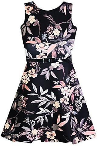Oops Outlet Mädchen Weich Mit Gürtel Sommerkleid Kinder Blumenmuster Top Skaterkleid 7-13 Jahre - Blumenmuster Schwarze Rose,