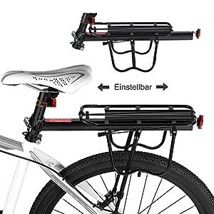 Bicicleta Portabultos, Baiker Aluminio Portaequipajes Bicicleta Carrier Trasera para Mountain Bike Accesorios Bicicleta con Reflector