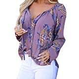 Briskorry Damen Beiläufig Elegant Hemden Lange Ärmel Sweatshirt Floral Bedruckt V-Ausschnitt Hemden Tunika Oberteile
