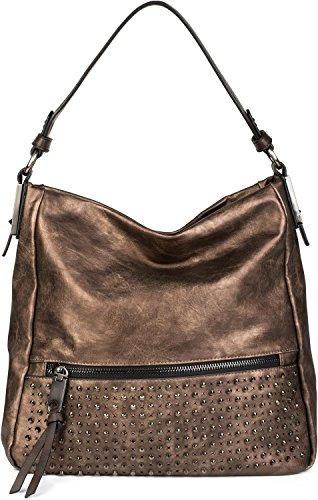 styleBREAKER Hobo Bag Handtasche mit Nieten besetzt, Reißverschlussfach vorne, Shopper, Schultertasche, Tasche, Damen 02012179, Farbe:Schwarz Antik-Bronze