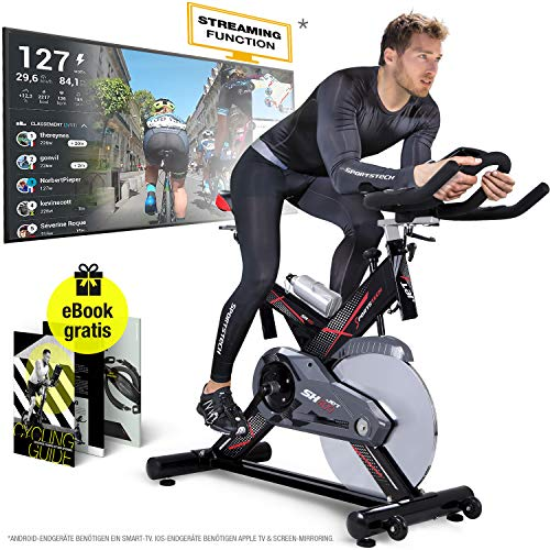Sportstech Profi Indoor Cycle SX400 -Deutsche Qualitätsmarke-mit Video Events & Multiplayer APP, 22KG Schwungrad, Pulsgurt kompatibel-Speedbike mit leisem Riemenantrieb-Ergometer bis 150Kg inkl. eBook