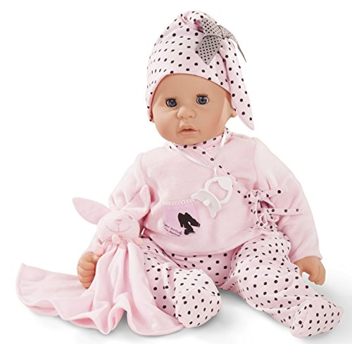 Götz 1661045 Cookie Ladies & Spots Puppe - 48 cm große Babypuppe mit blauen Schlafaugen, ohne Haare, einem Weichkörper - 6-teiliges Set (Rosa T-shirt Haar-womens)