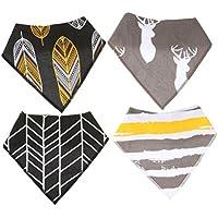 WINOMO 4pcs bebé baberos algodón Unisex suave pañuelo Saliva toalla triángulo de alimentación