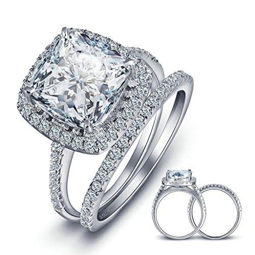 Doppel-holz-raucher (Bishilling Schmuck Damen Ring Silber 925 Rechteck Weiß Kristall 2 Stücke Damenring Verlobungsring Ehering Hochzeit Ringe Silber Ringgröße 54 (17.2))