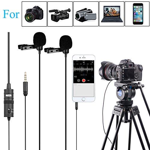 BOYA BY-M1DM Microfono da risvolto universale a doppia testa Lavalier con adattatore da 1/8 per iPhone 8 7 Smartphone Canon Videocamera Nikon DSLR Videocamere Videoregistratore