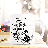 ilka parey wandtattoo-welt® Tasse mit Spruch Becher Kaffeetasse Kaffeebecher mit Faultier Schildkröte und Spruch Sei du selbst... ts468