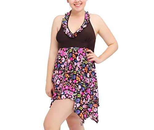 Shangrui Damen Bademode Series Gedruckt Plus-Größe Schnüren Schlinge Split Kleiden Badeanzug(FZWH16060) 60Braun