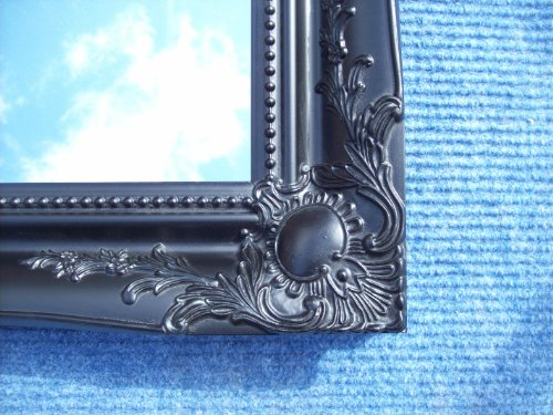 BLACK VERY LARGE SHABBY CHIC ANTIQUE STYLE MIRROR - 36