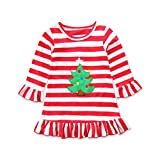URSING Weihnachten Weihnachtskleid Kleinkind Baby Mädchen Weihnachtsbaum Gestreiftes Printkleid Streifen Sommerkleid Super süß Partykleider Wickelkleid Festliche Kleidung Weihnachtskostüm (rot, 90cm)