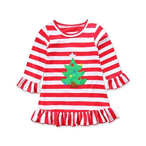 (URSING Weihnachten Weihnachtskleid Kleinkind Baby Mädchen Weihnachtsbaum Gestreiftes Printkleid Streifen Sommerkleid Super süß Partykleider Wickelkleid Festliche Kleidung Weihnachtskostüm (rot, 80cmn))