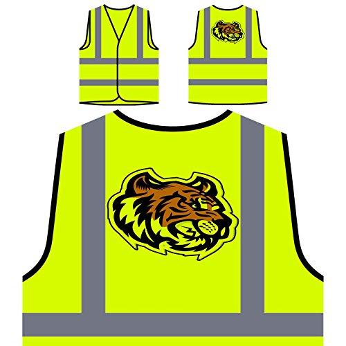 (Tiger Kopf Maskottchen-Logo Personalisierte High Visibility Gelbe Sicherheitsjacke Weste u621v)