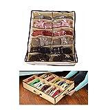 viemode Cajas de almacenaje 12Par Hogar de almacenamiento Caja de zapatos Bolsas de organizadores de armario plegable Tela Decor (1pcs)