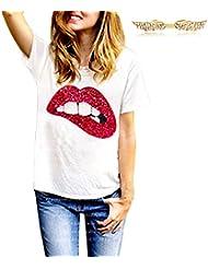 BYD Mujeres Camisetas Manga Corta Labios Rojos de Lentejuelas T shirt Blusas Camisas Tops Verano