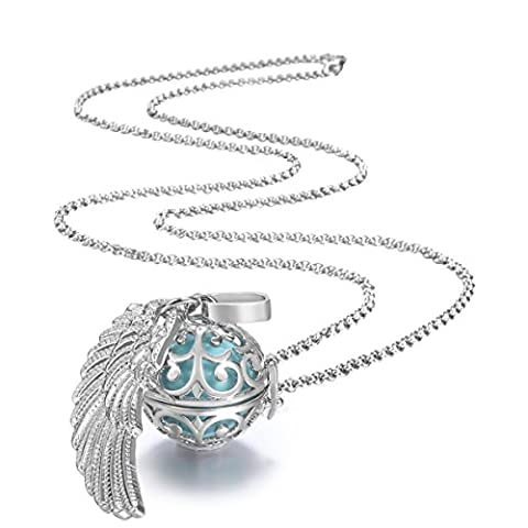 Feather Wing Cool Mexican Bola Harmony Chime Ball Angel Caller Pregnancy Locket Pendant Necklace Gifts Presents 30
