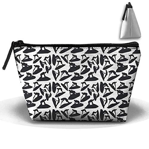 Trapezoid Cosmetic Bags Brush Pouch Jet Ski Silhouette Vector Makeup Bag Home Office Travel Cases for Valentine's Day -