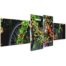 Cuadro sobre lienzo Canvas–ConKrea–Listo para colgar–Holanda–Países Bajos–Amsterdam–Bicicleta decorada con flores